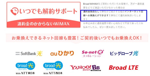 Broad WiMAX いつでも解約サポート